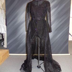 NEW - Black beaded/lace romper w/ detachable skirt